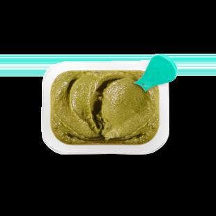 Top view of Avocado Green Apple Broccoli Spirulina babyblend container.