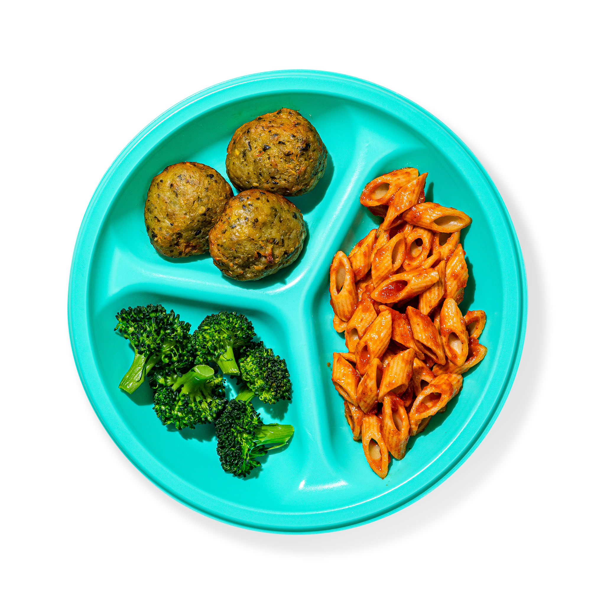 Plate of Penne and Kale Turkey Meatballs