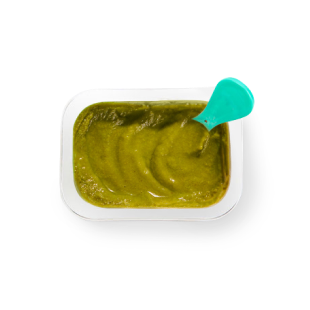 Top view of Spinach Mango Banana Hemp babyblend container.