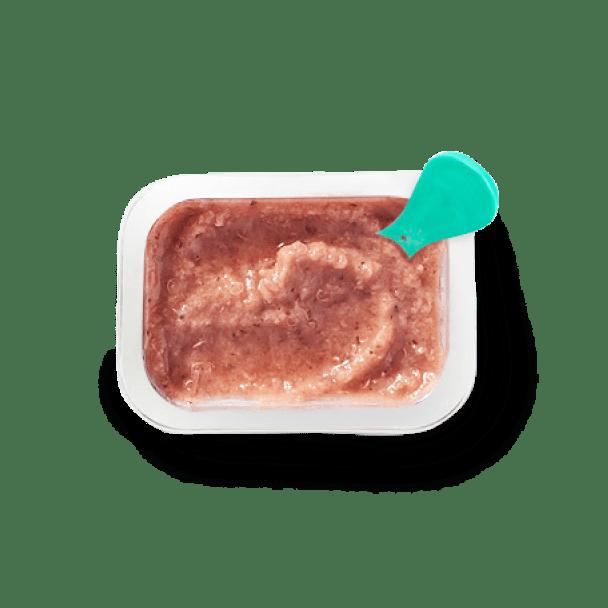 Top view of Quinoa Raspberry Pear Coconut Milk Vanilla Date Wheat Germ Oil babyblend container.